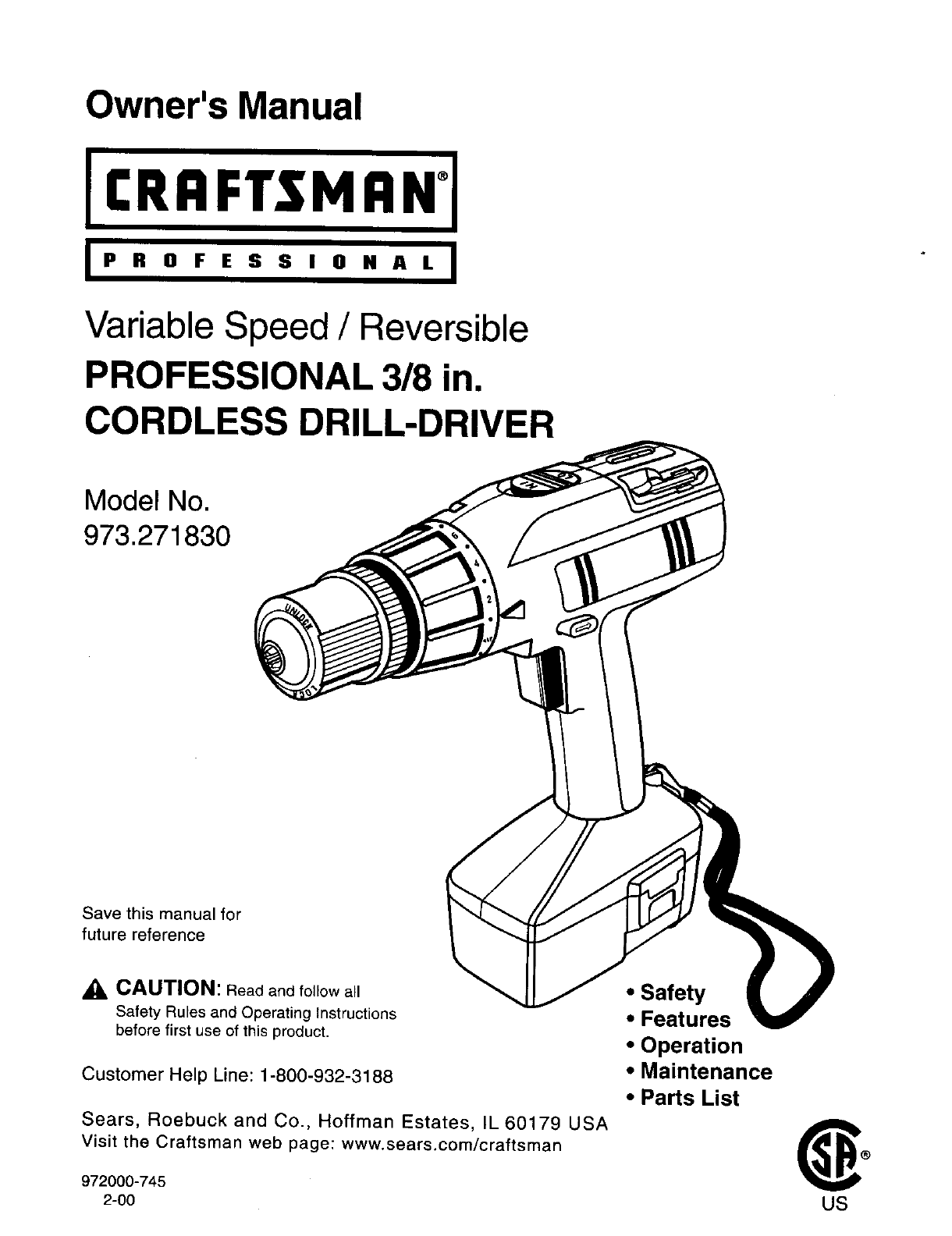 craftsman cordless drill user guide