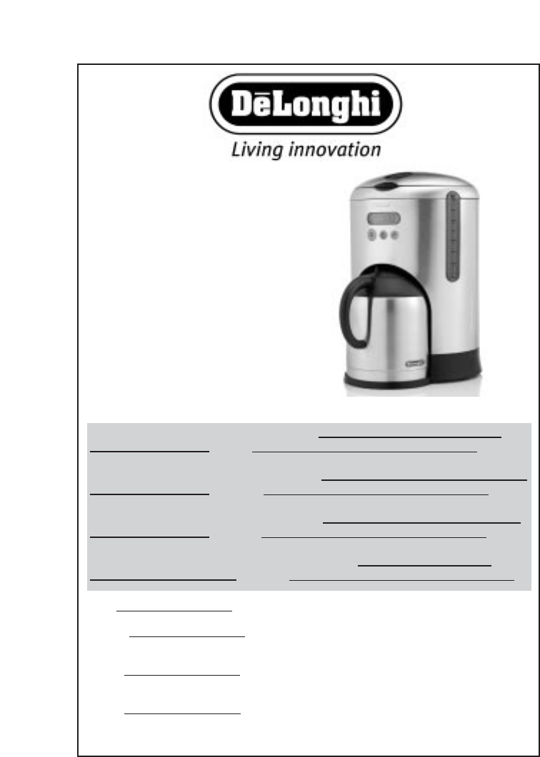 DeLonghi Coffeemaker DCM485 User Guide ManualsOnline.com