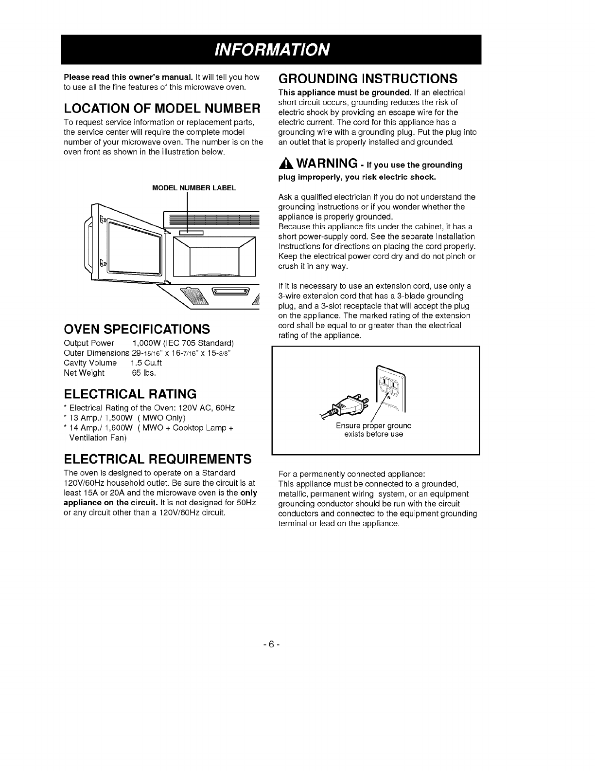 Page 6 Of Goldstar Microwave Oven Mv 1525b User Guide A Short Circuit Occurs When Please Read This Owners Manual Itwill Tellyou How