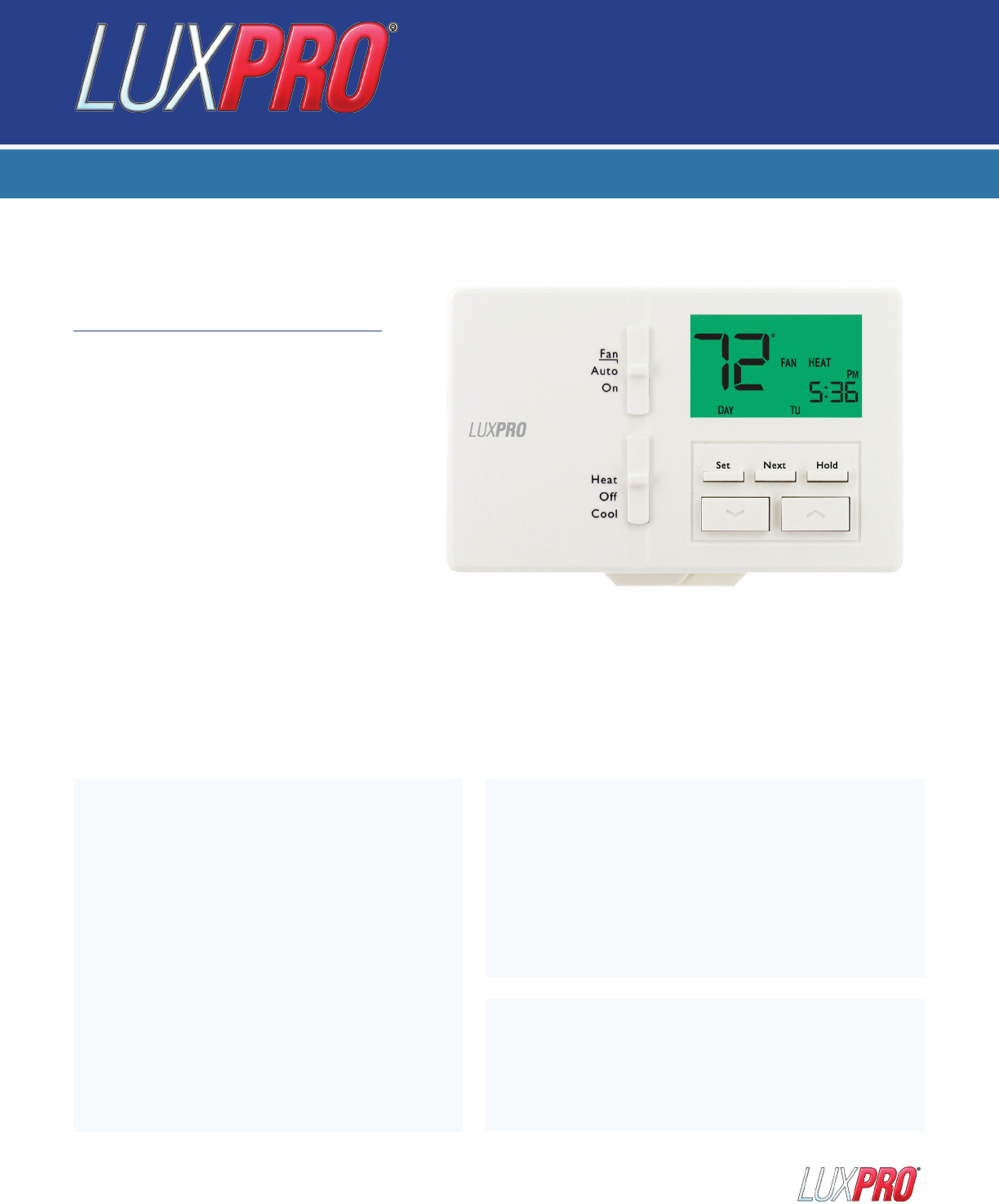 Lux Products Thermostat P711 User Guide | ManualsOnline com