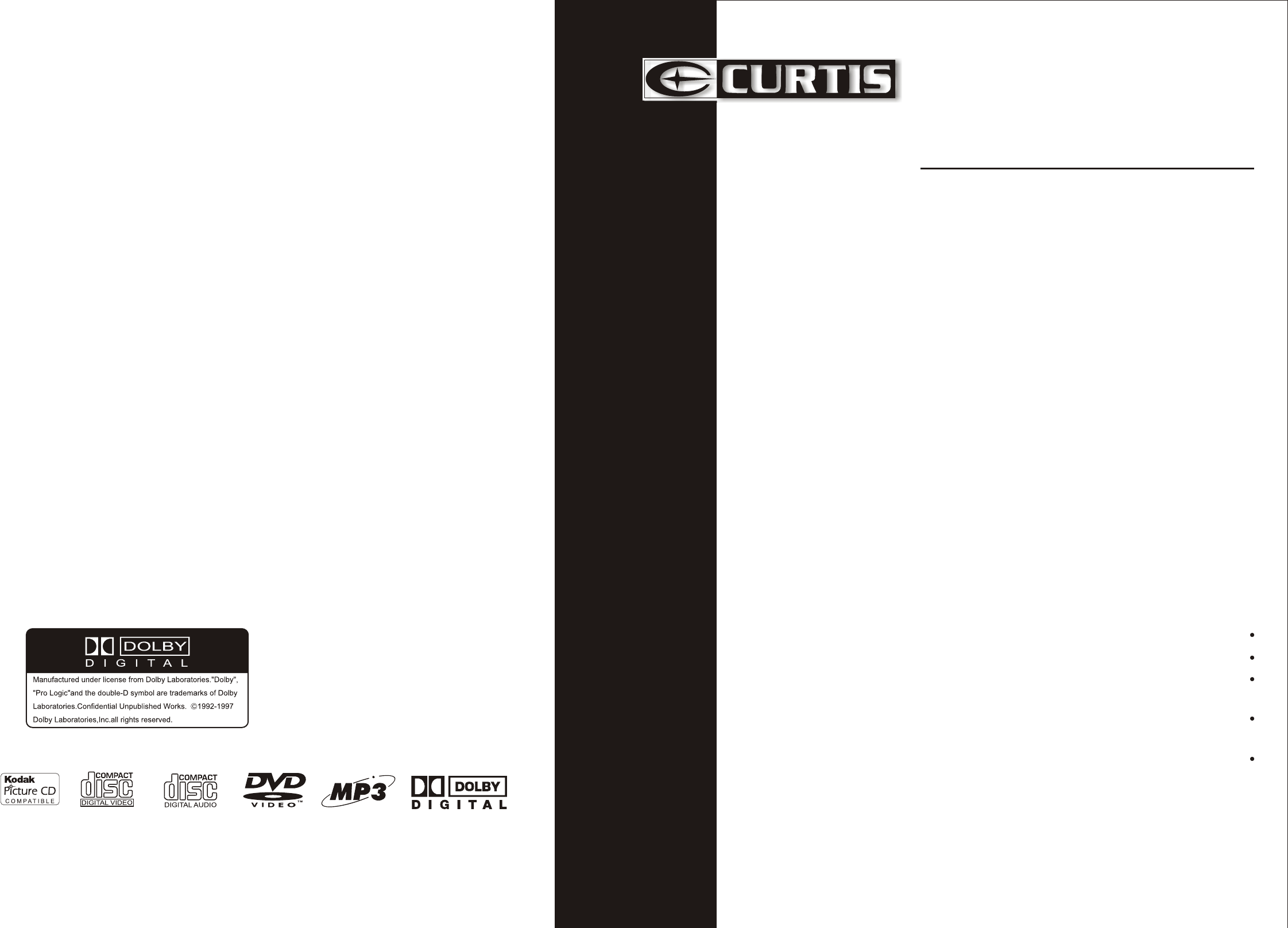 Curtis Home Theater System Dvd5038 User Guide