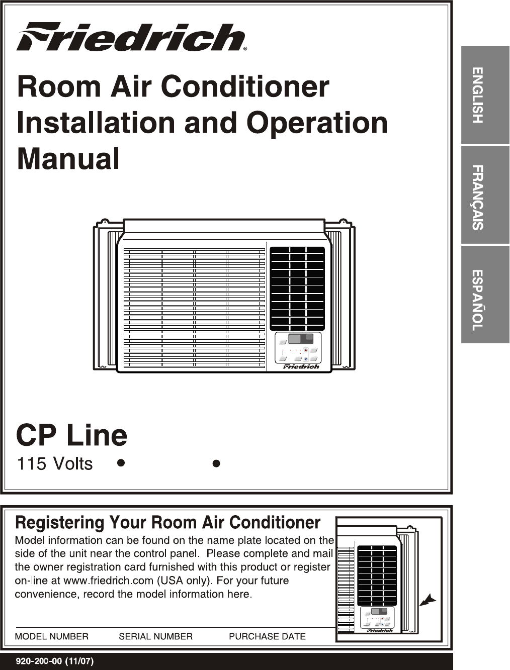 Friedrich    Air       Conditioner    CP06CP08 User Guide