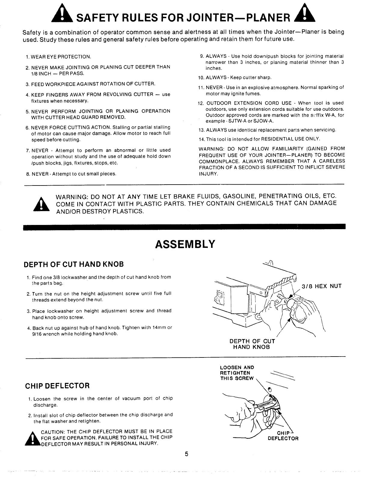 page 5 of sears planer 149 23632 user guide manualsonline com rh powertool manualsonline com De Walt Thickness Planer Manual Ryobi Planer Manual