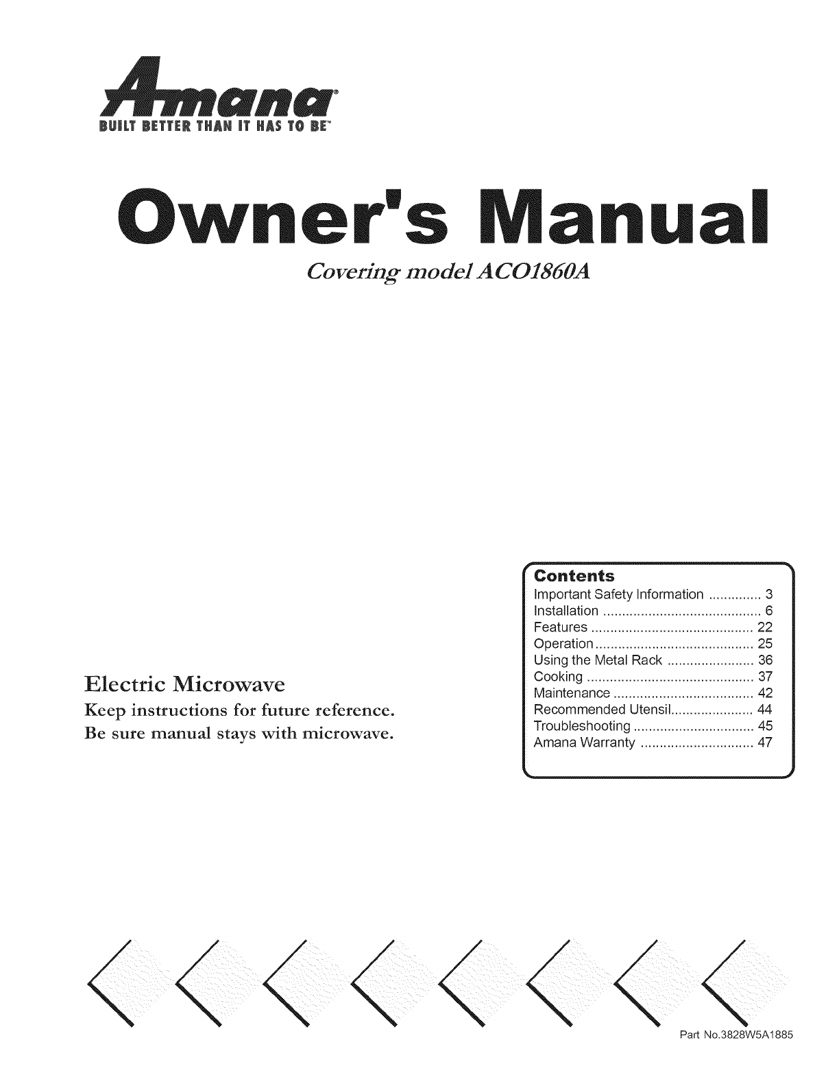 Amana Microwave Oven Aco1860a User Guide Manualsonline