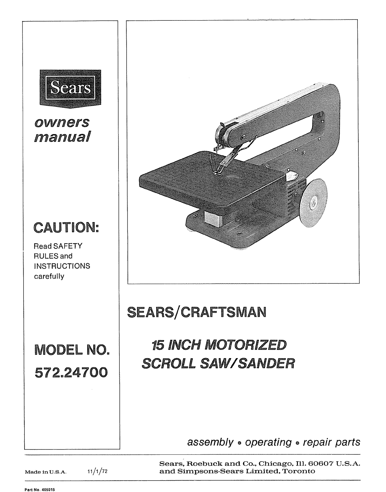 craftsman saw 572 24700 user guide manualsonline com rh office manualsonline com Craftsman Repair Manual Craftsman 5 22 Snowblower Parts