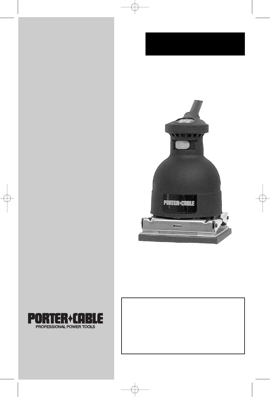 PORTER  CABLE  330  SANDER   INSTRUCTION  MANUAL