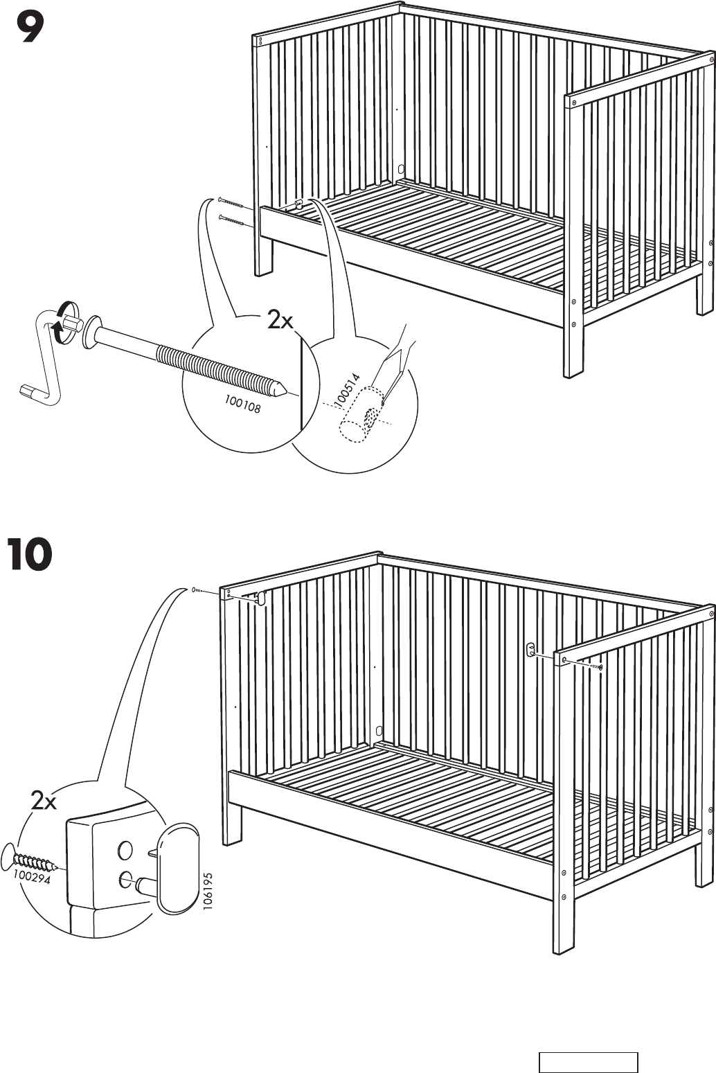 page 16 of ikea crib aa 240443 2 user guide manualsonline com rh babycare manualsonline com ikea diktad crib manual ikea diktad crib manual