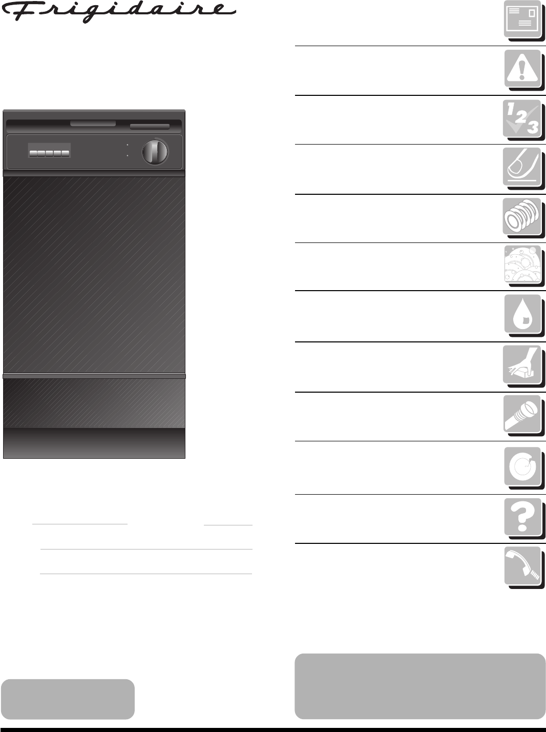 frigidaire dishwasher 18 inch built in and portable user guide rh kitchen manualsonline com Frigidaire Washer Dryer Combo Frigidaire Glass Top Stove