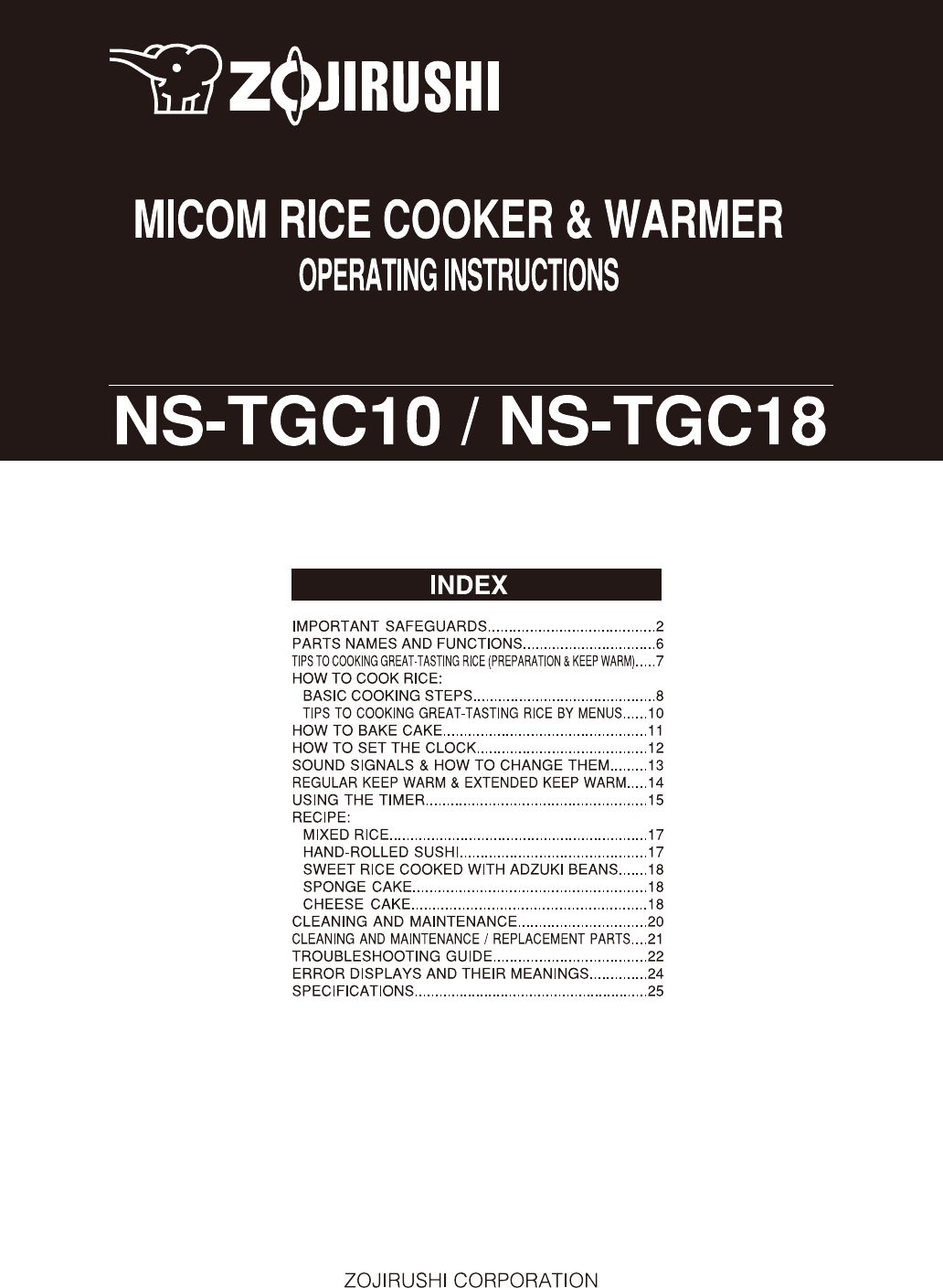 zojirushi rice cooker ns tgc10 user guide manualsonline com rh kitchen manualsonline com Rice Cooker Cup 3 Sanyo Rice Cooker