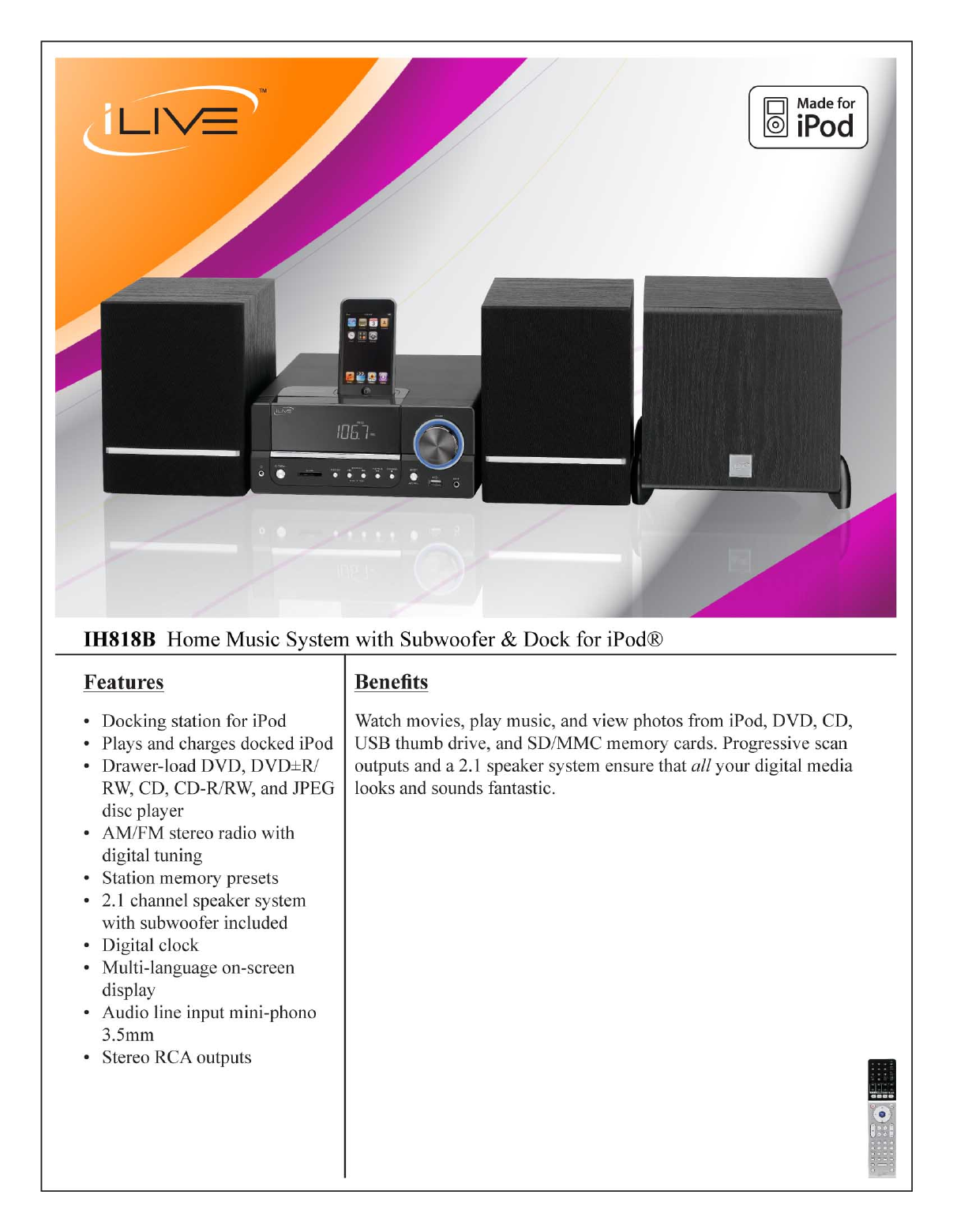 ilive stereo system ih818b user guide manualsonline com rh audio manualsonline com ilive portable radio manual ilive under cabinet radio manual