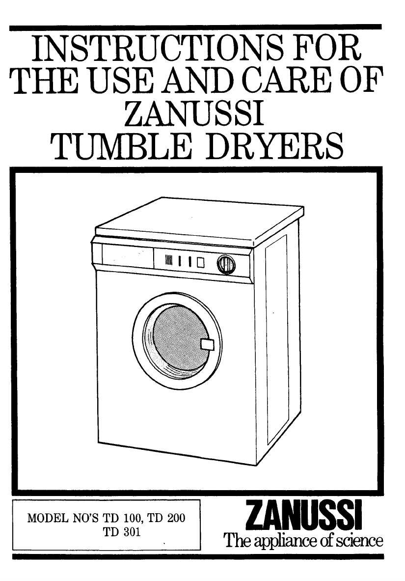 Zanussi clothes dryer td 200 user guide manualsonline sciox Image collections