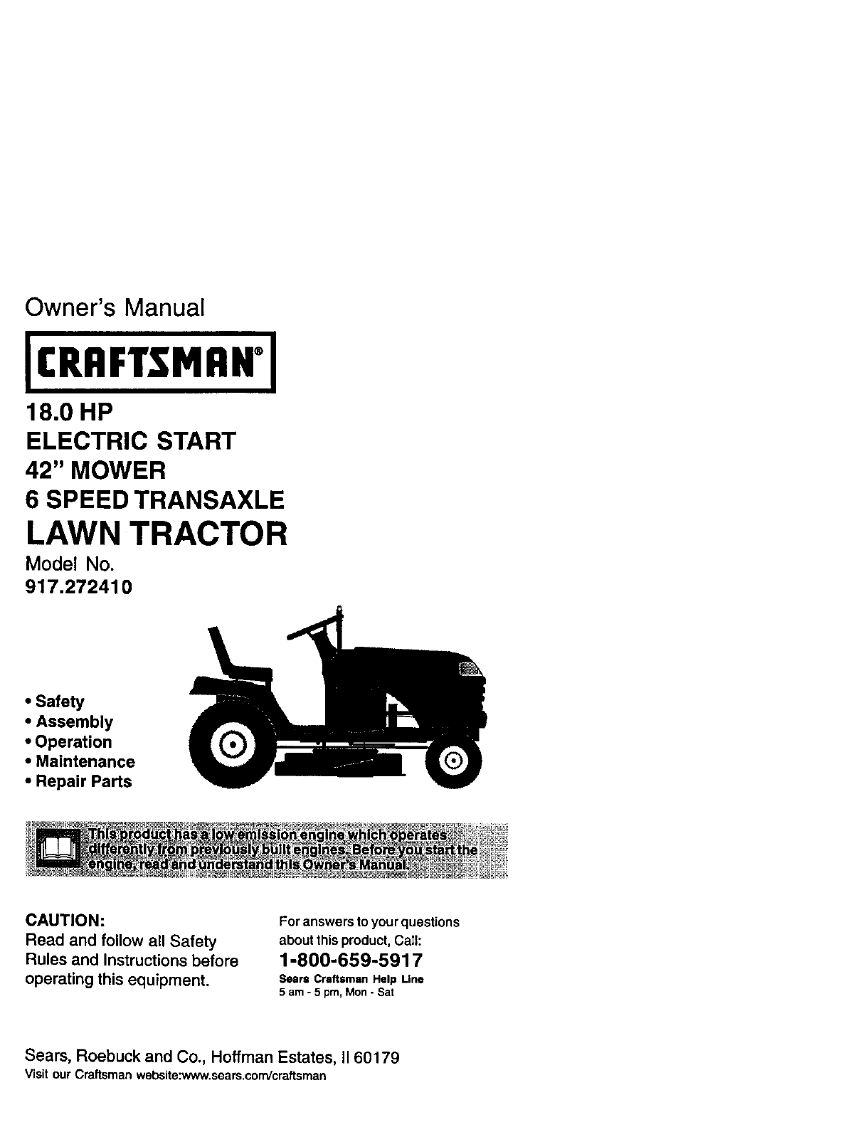 Craftsman Lt1000 Mower Manual : Craftsman lawn mower user guide manualsonline