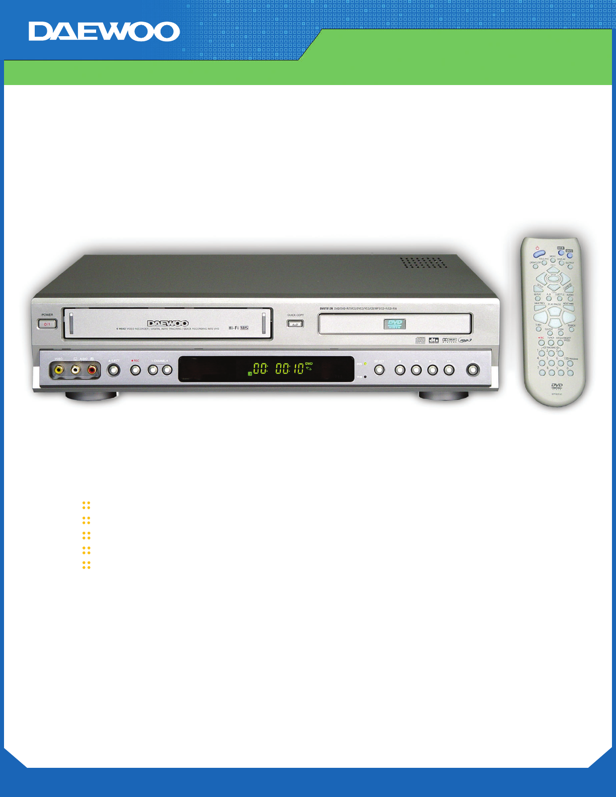 daewoo dvd vcr combo dv 6t812n user guide manualsonline com rh tv manualsonline com New VHS VCR Players daewoo vcr dvd combo manual