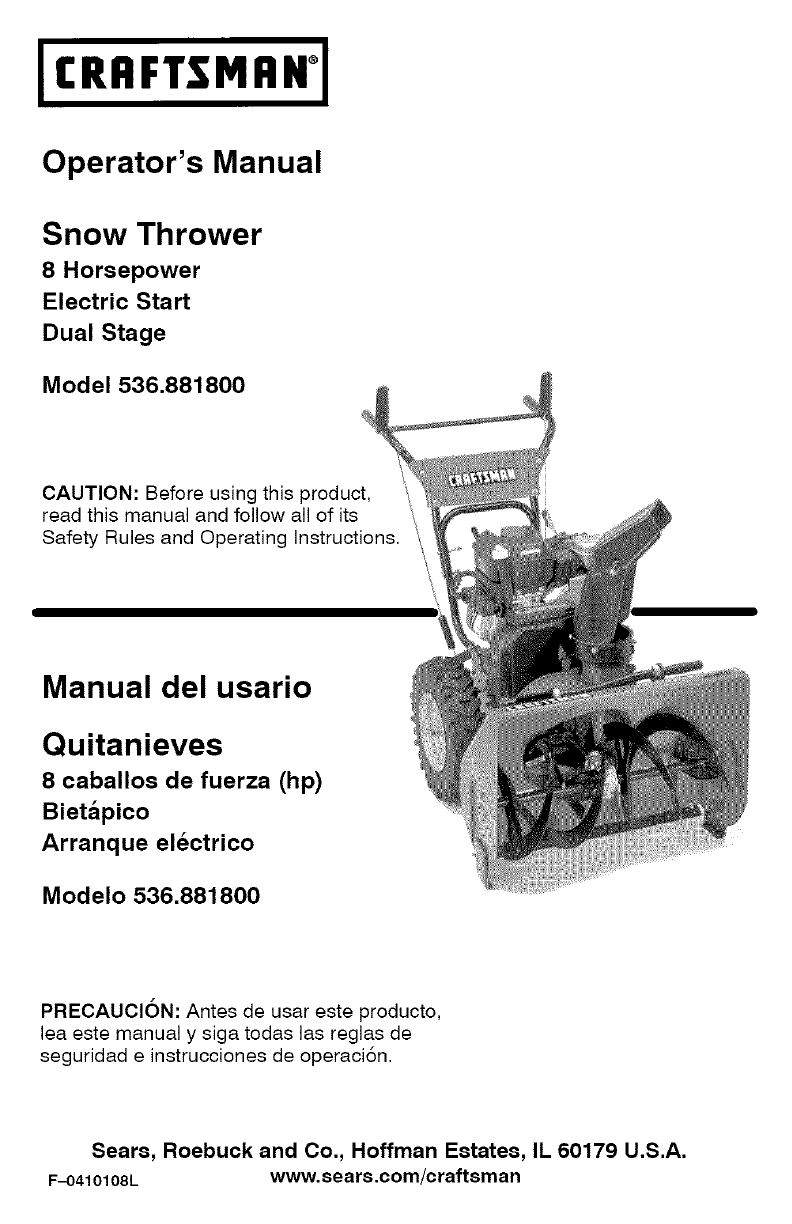 craftsman snow blower 536 8818 user guide manualsonline com rh lawnandgarden manualsonline com Craftsman Snow Blower Manual PDF 536 882300 Craftsman Snow Blower Manuals 26 Inch