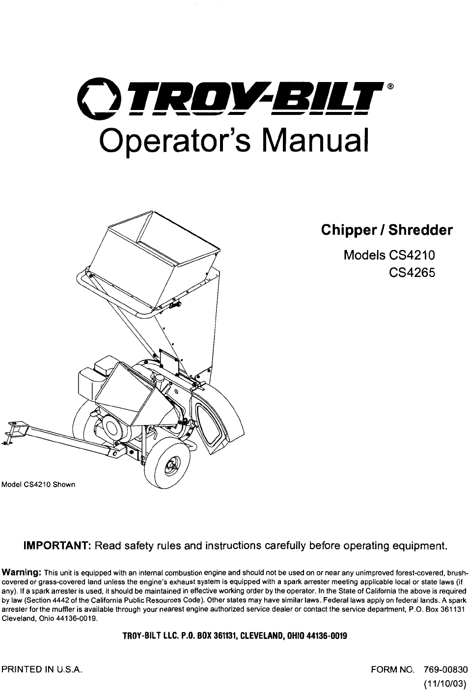 troy bilt chipper cs4265 user guide manualsonline com rh lawnandgarden manualsonline com Sony A6000 User Manual Sony Instruction Manuals