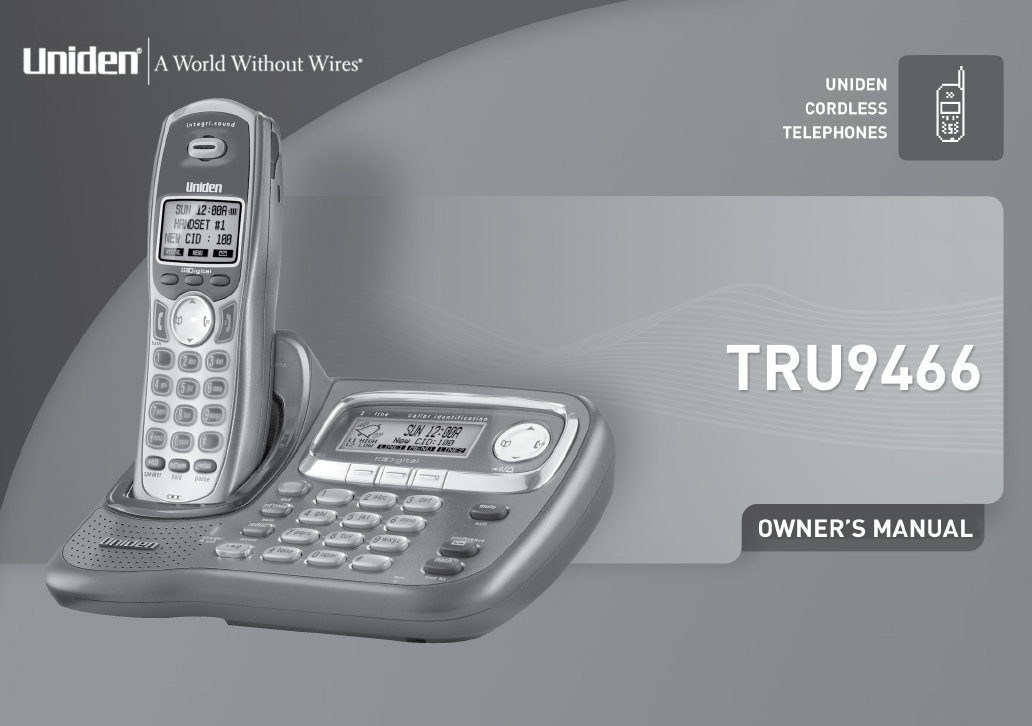 uniden cordless telephone tru9466 user guide manualsonline com rh phone manualsonline com Handset Grandstream uniden dual handset manual