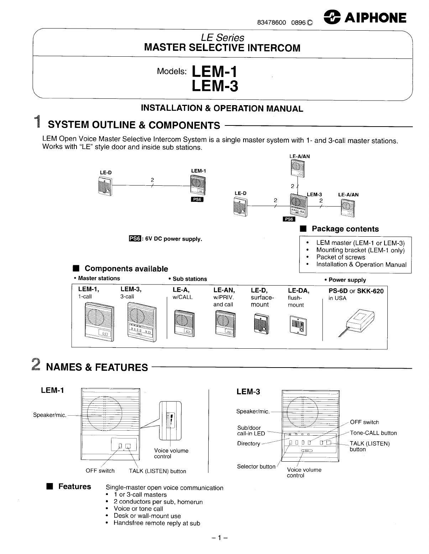 aiphone intercom system lem 1 lem 3 user guide manualsonline com rh phone manualsonline com Commercial Intercom Systems Aiphone Le Da