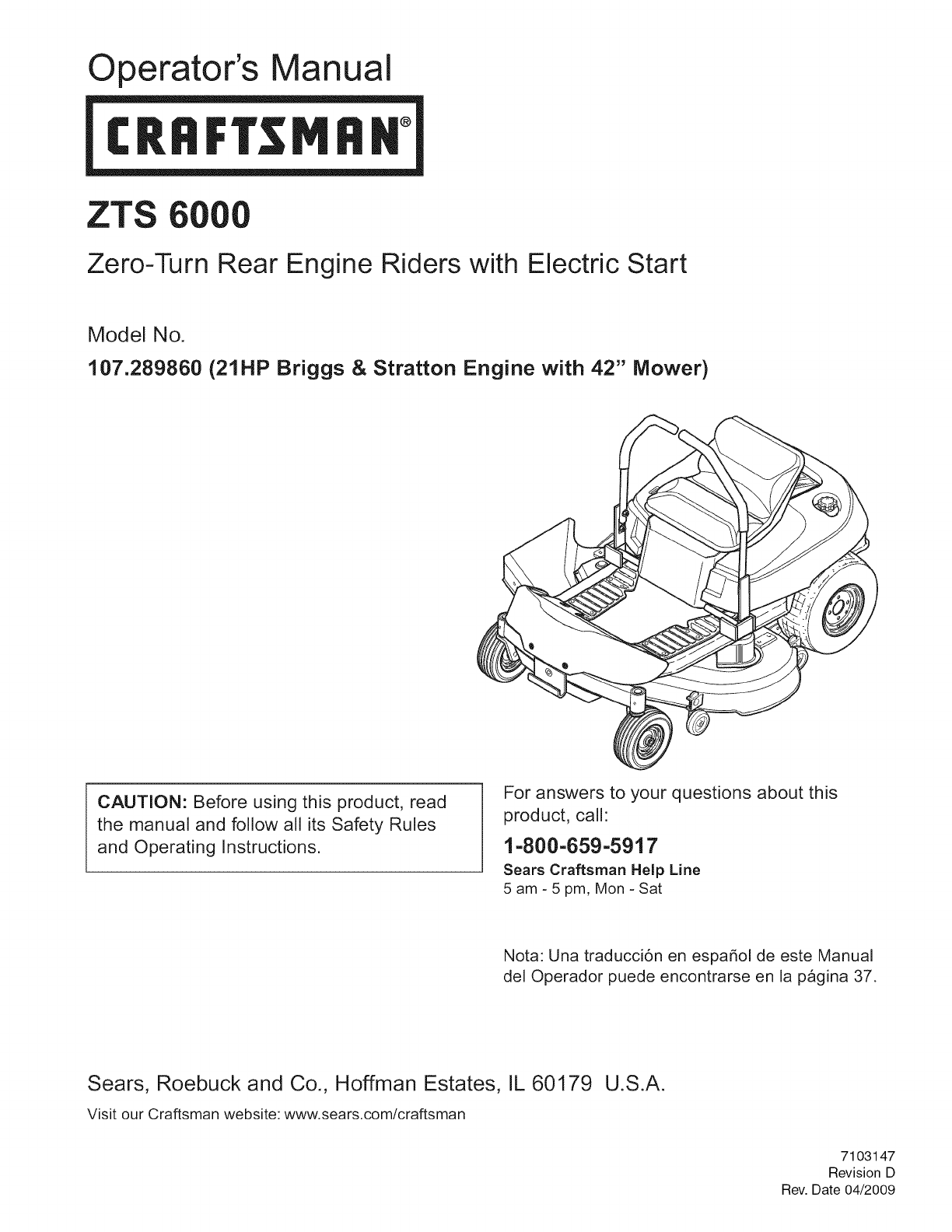 craftsman lawn mower zts 6000 user guide