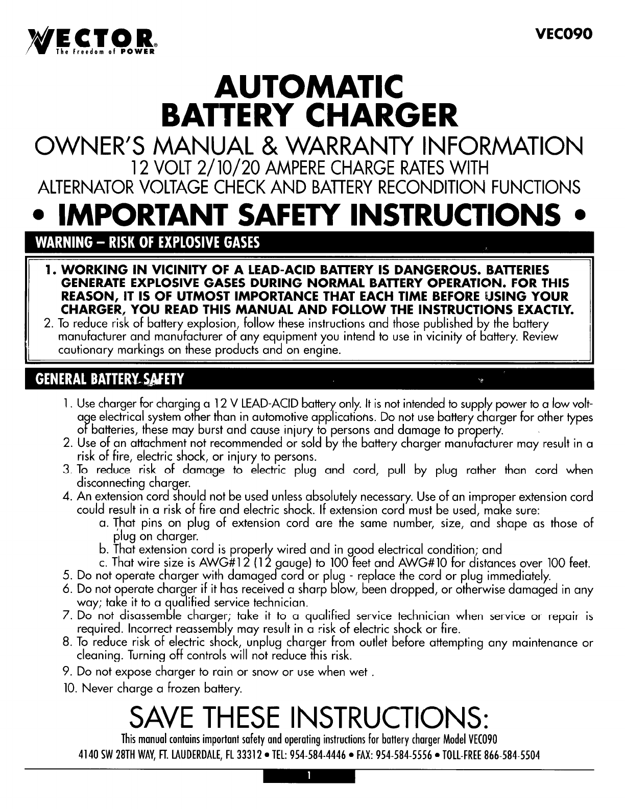 Vector automobile battery charger vec090 user guide for Vector canape user manual