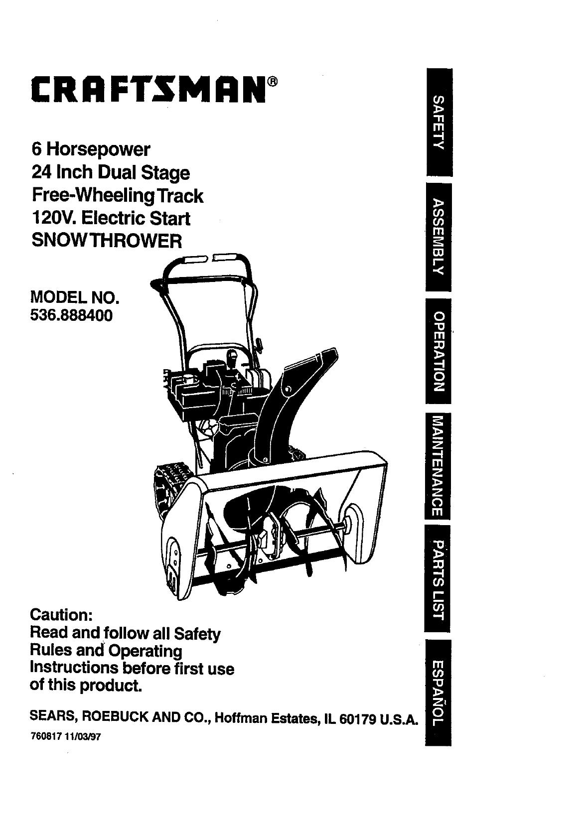 craftsman snowblower repair manual pdf