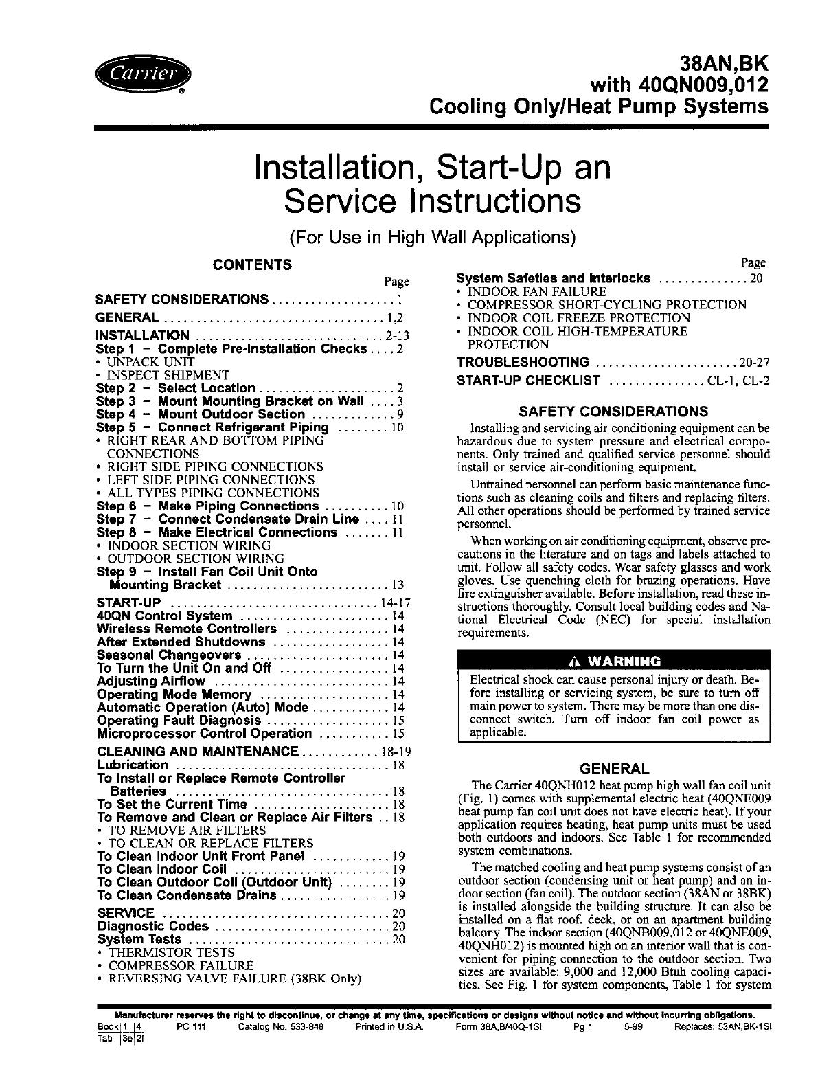 carrier heat pump 38an bk user guide manualsonline com carrier heat pump manual defrost carrier heat pump operation manual
