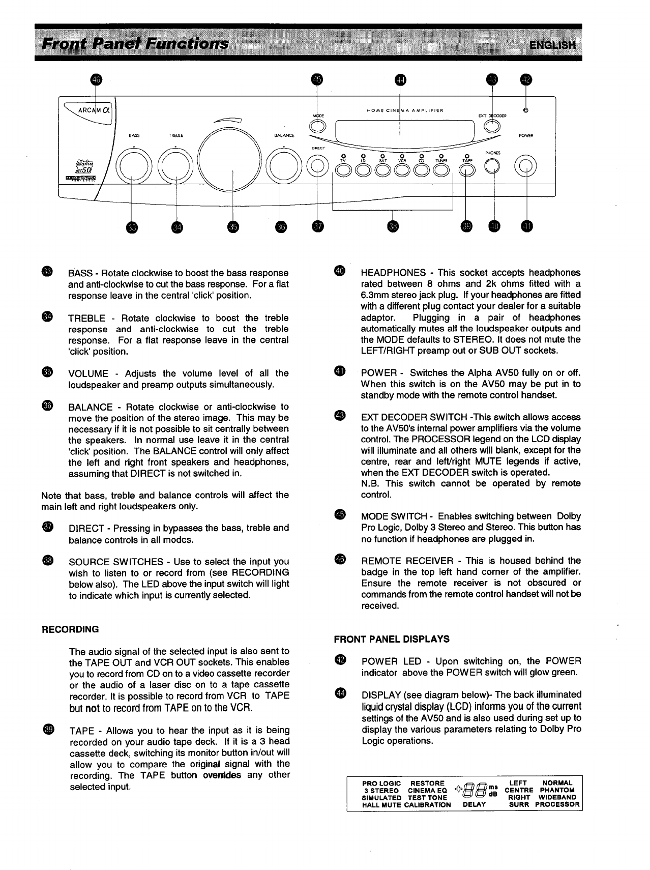 page 7 of arcam home theater system alpha av50 user guide rh audio manualsonline com Arcam Logo Arcam Award