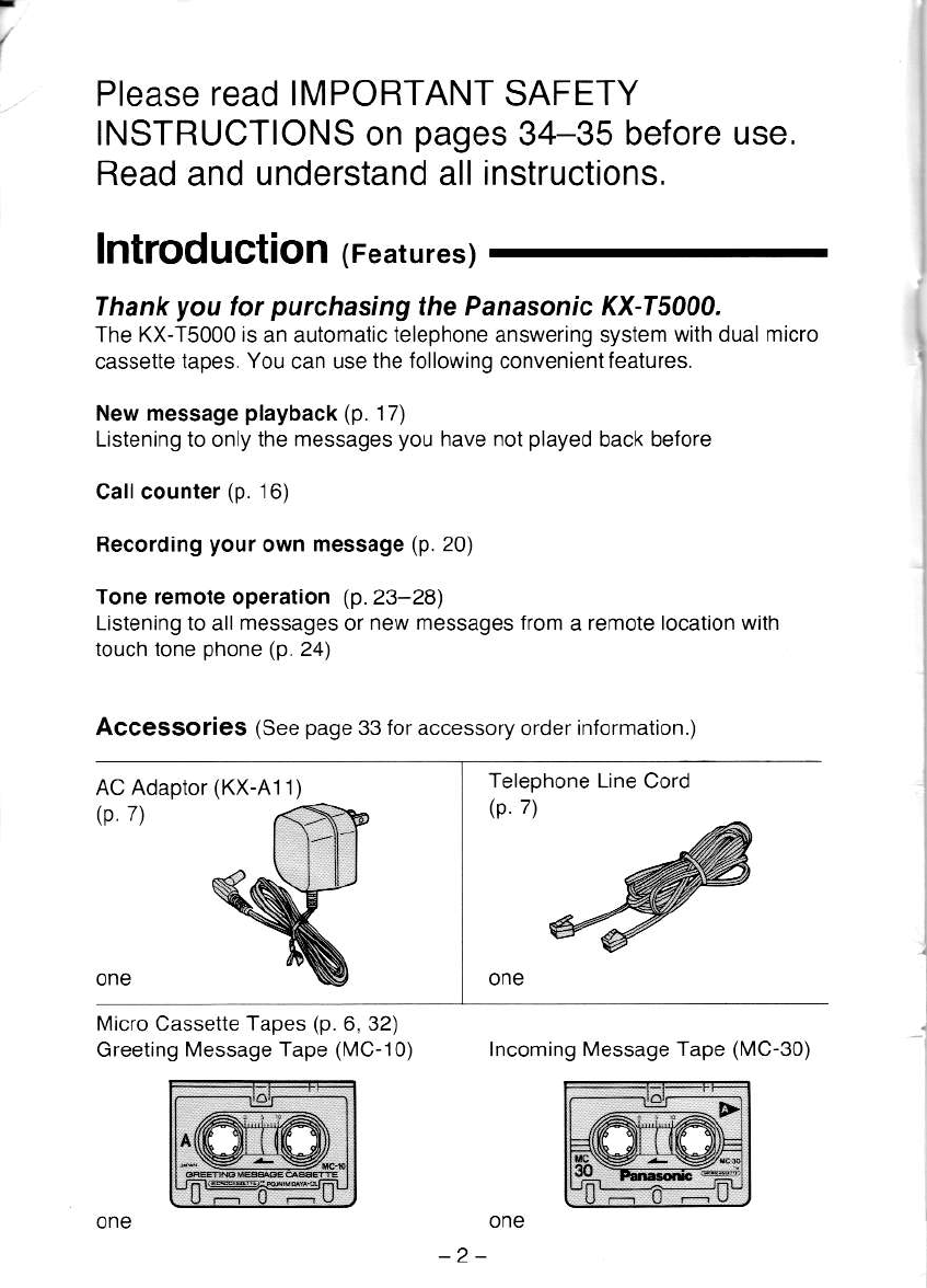 Page 2 Of Panasonic Answering Machine Kx T5000 User Guide
