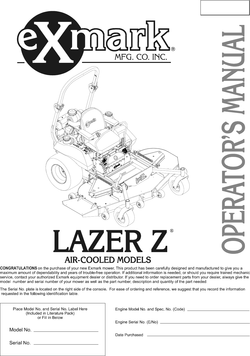 exmark lawn mower lazer z hp user guide manualsonline com for serial nos