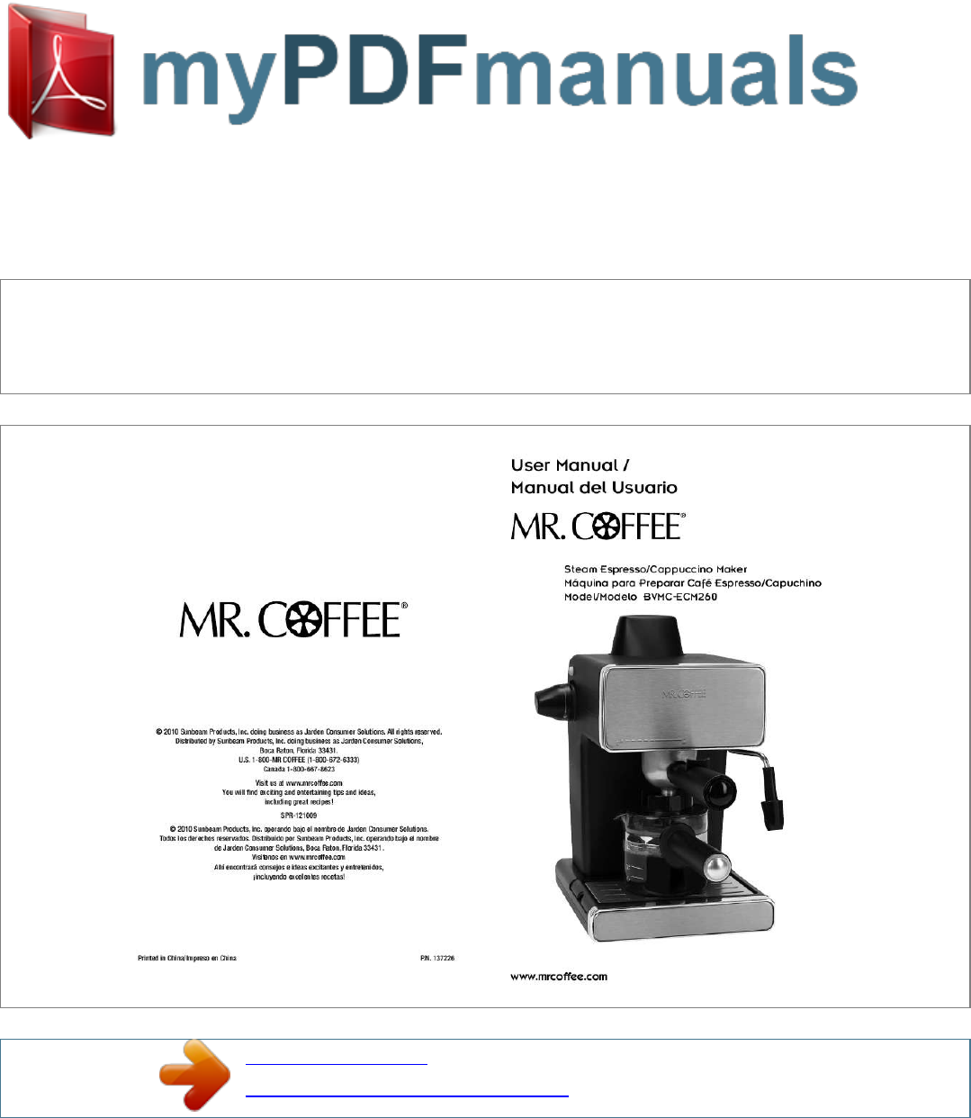 Mr. Coffee Espresso Maker BVMC-ECM260 User Guide ManualsOnline.com
