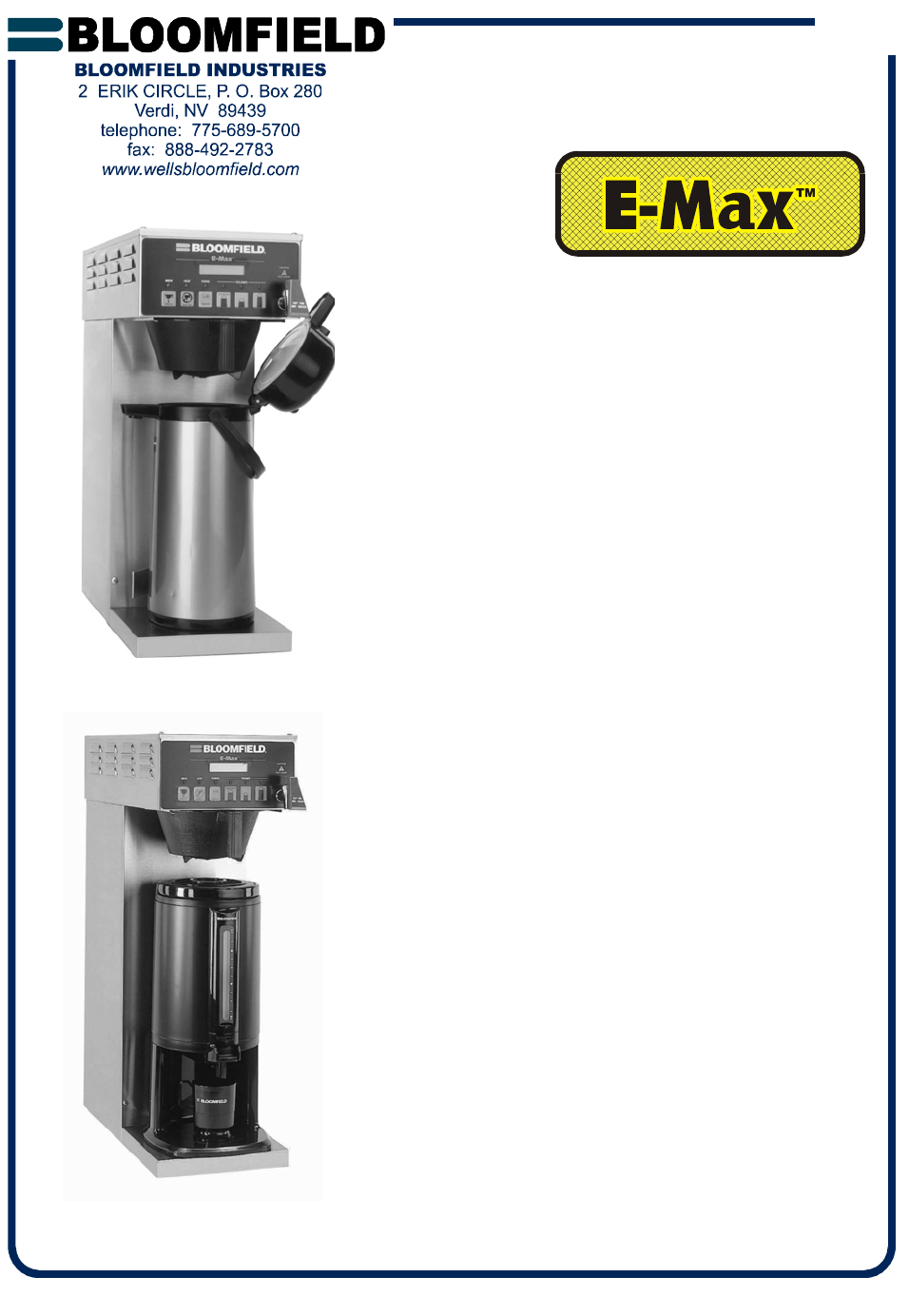 Bloomfield Coffee Maker Parts Manual : Bloomfield Coffeemaker 2088EX User Guide ManualsOnline.com