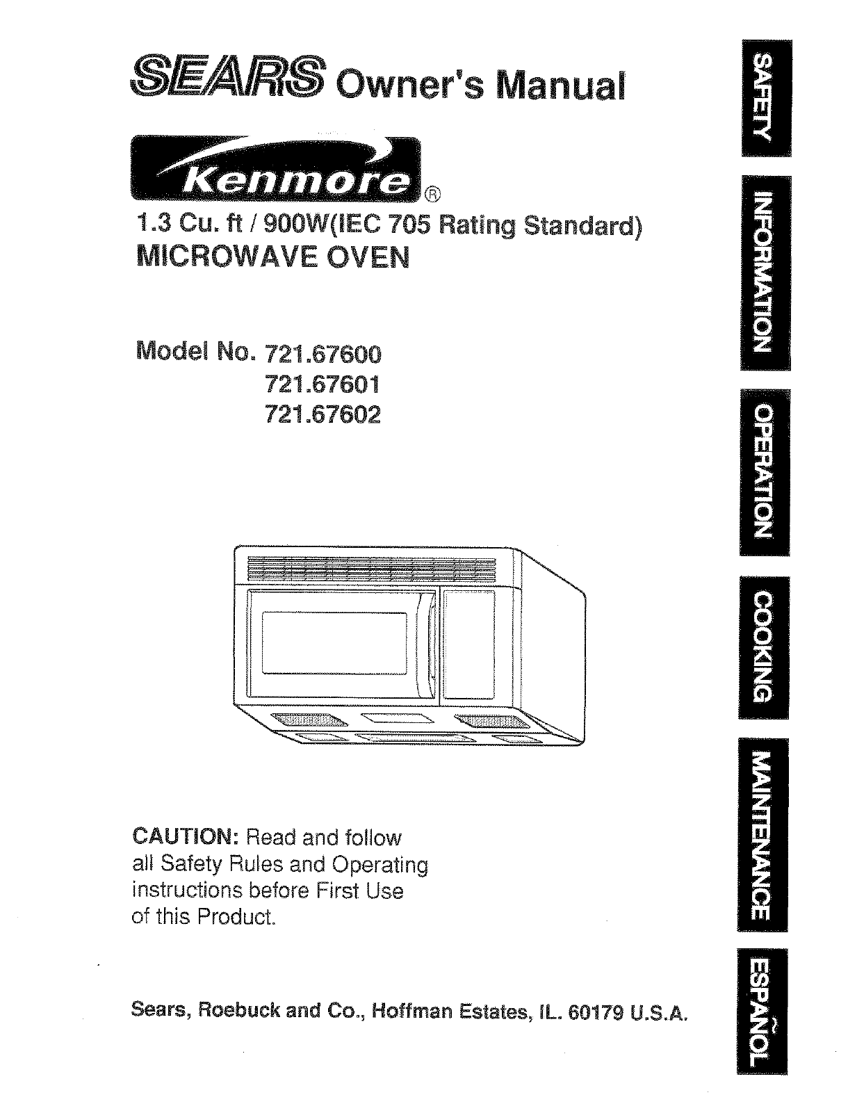 sears microwave oven 721 67601 user guide manualsonline com rh kitchen manualsonline com kenmore microwave owner's manual Kenmore Microwave Over the Range