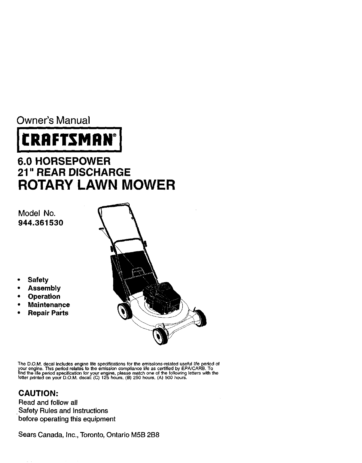 craftsman lawn mower 944 36153 user guide manualsonline com rh lawnandgarden manualsonline com Sears Craftsman Manuals Model Number craftsman lawn tractor model 944 manual