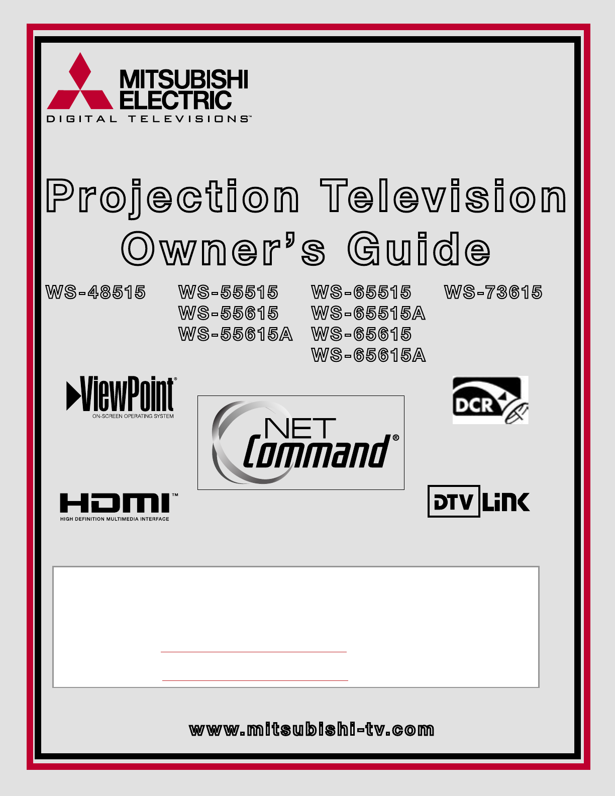 mitsubishi electronics projection television ws 55515 user guide