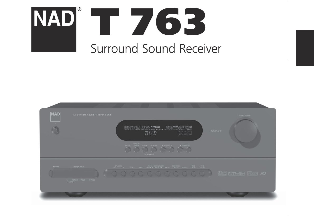 nad stereo receiver t 763 user guide manualsonline com rh audio manualsonline com nad t 763 service manual nad t762 manual