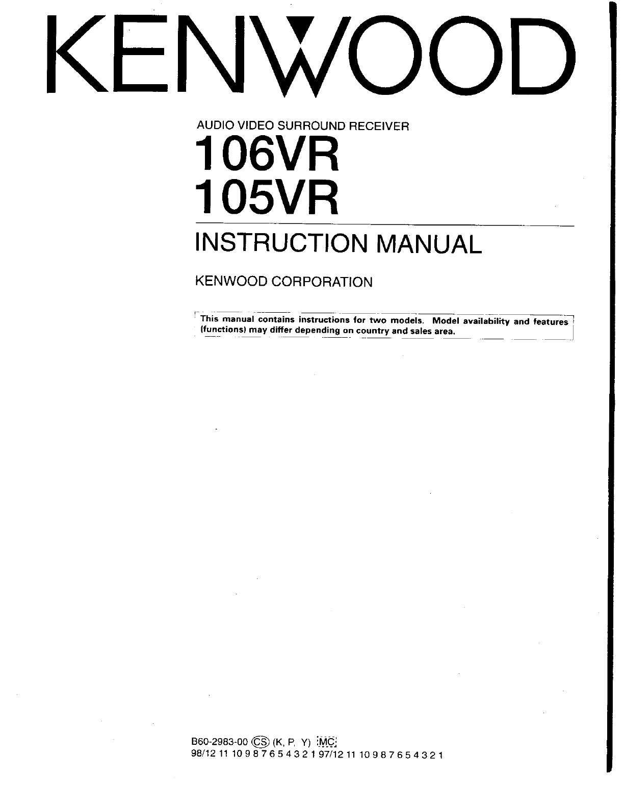kenwood stereo receiver 105vr user guide manualsonline com rh audio manualsonline com KDC-252U Kenwood User Manuals free kenwood user manual download