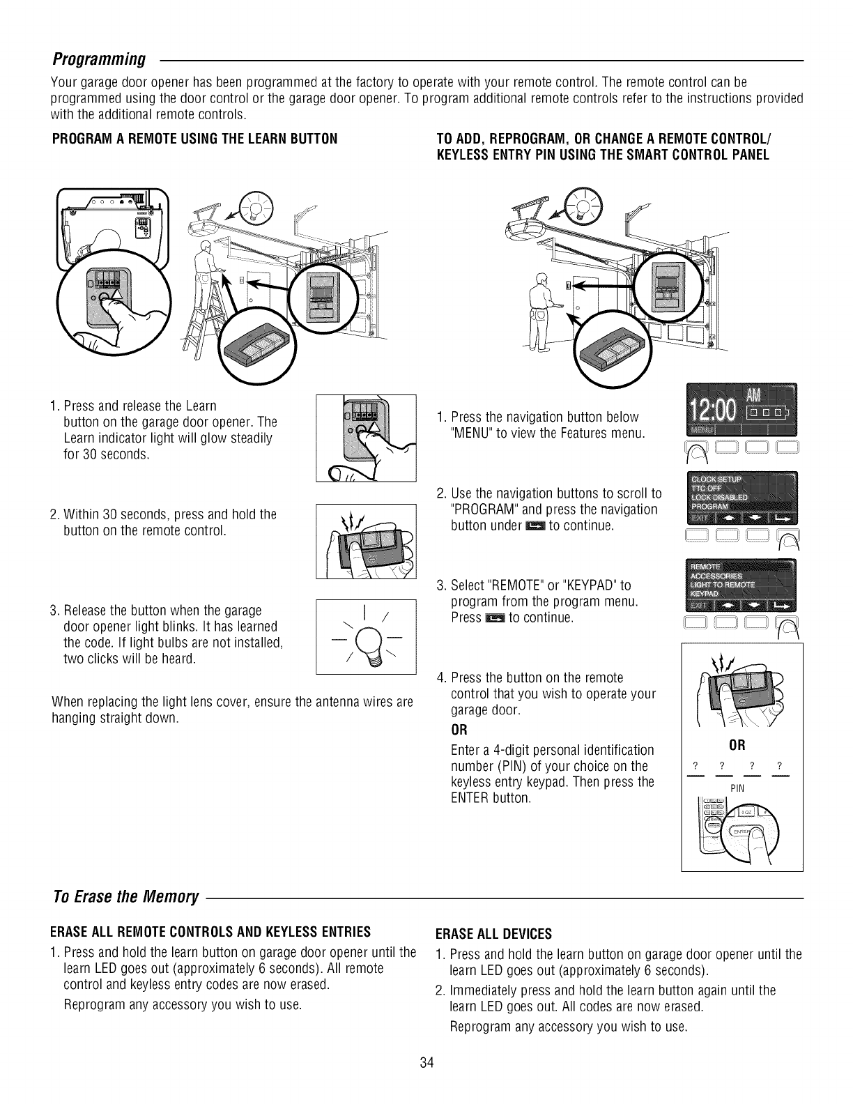 Page 34 Of Craftsman Garage Door Opener 1393043 User Guide Remote Antenna For Programming Your Garagedoor Openerhas Been Programmed At The Factory To Operatewith