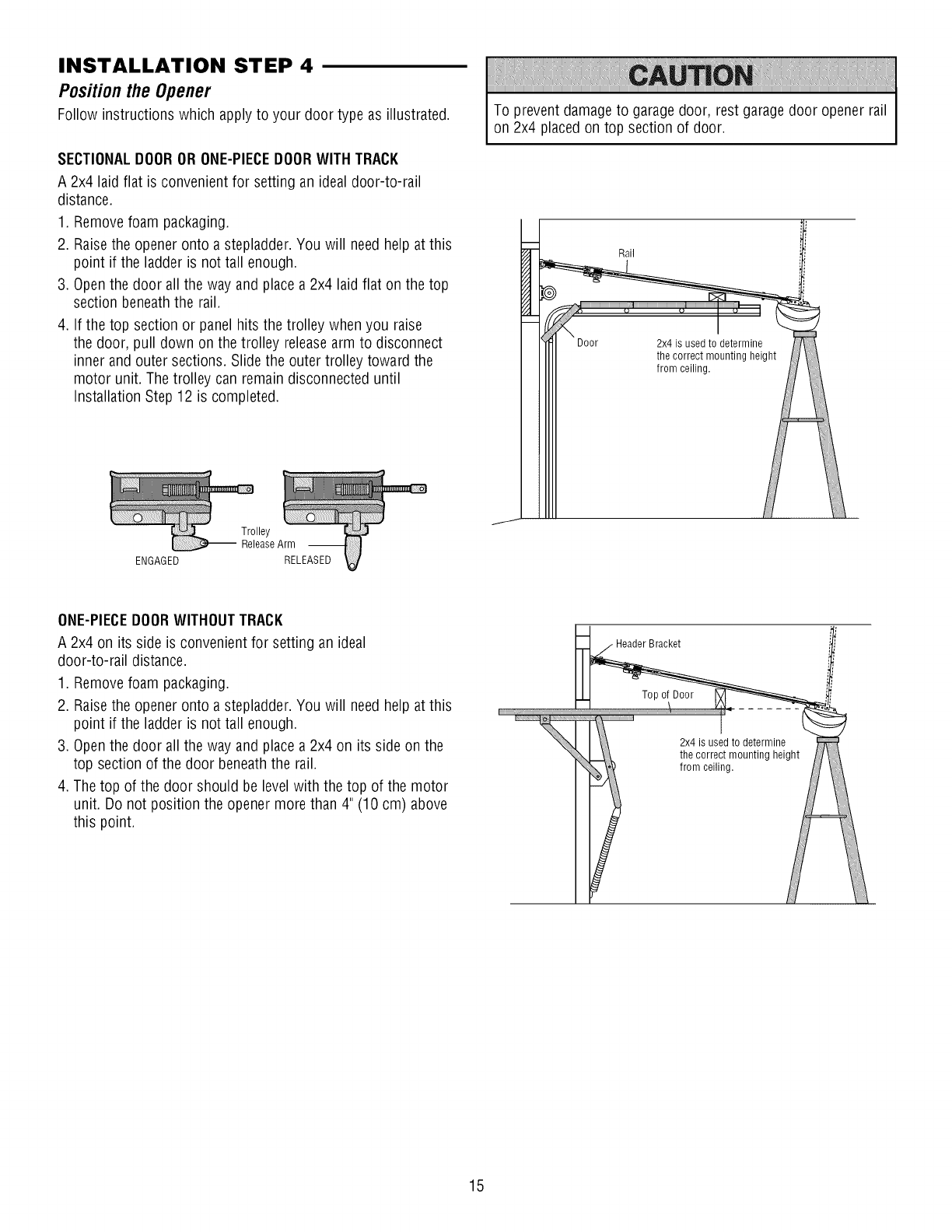 Page 15 of craftsman garage door opener 1393043 user guide installation step 4 positionthe opener ccuart Choice Image