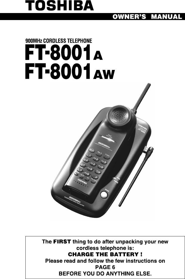 toshiba cordless telephone ft 8001 aw user guide manualsonline com rh phone manualsonline com Toshiba 900 MHz Cordless Phone toshiba 900 mhz digital cordless phone manual