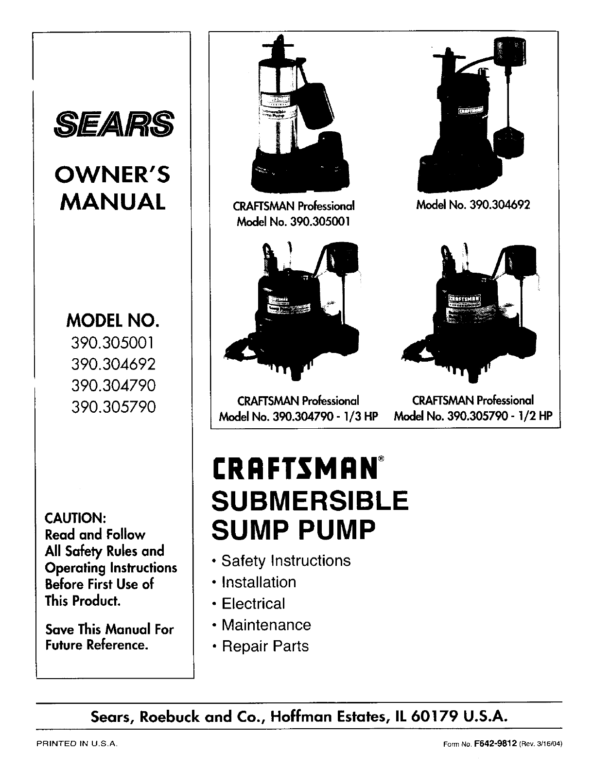 sears water pump 390 30479 user guide manualsonline com rh homeappliance manualsonline com sears best hydro glass water pump manual Marine Sea Water Pump