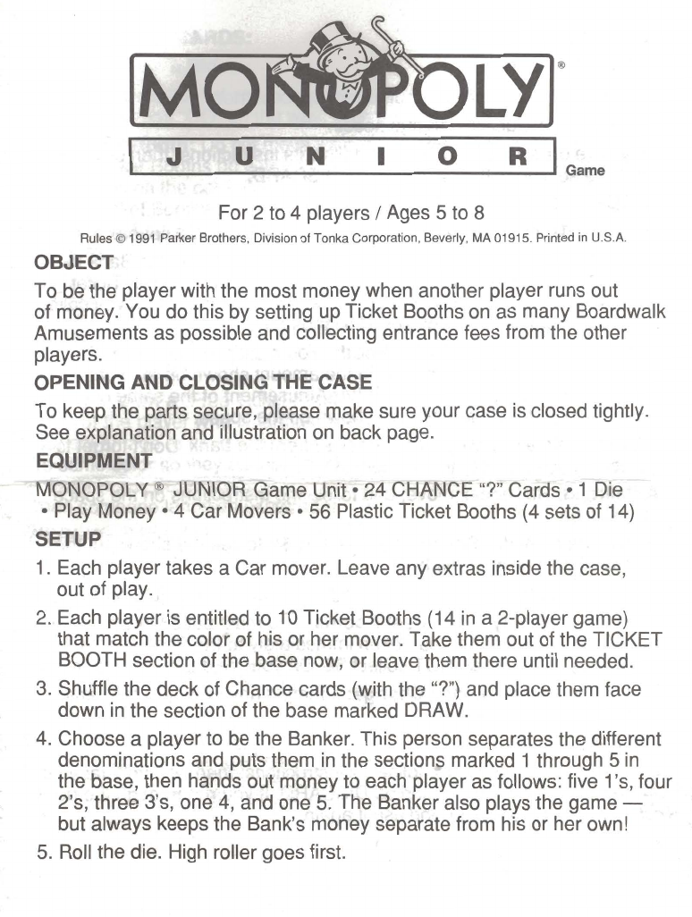 Board game instructions template image collections for Board game instructions template