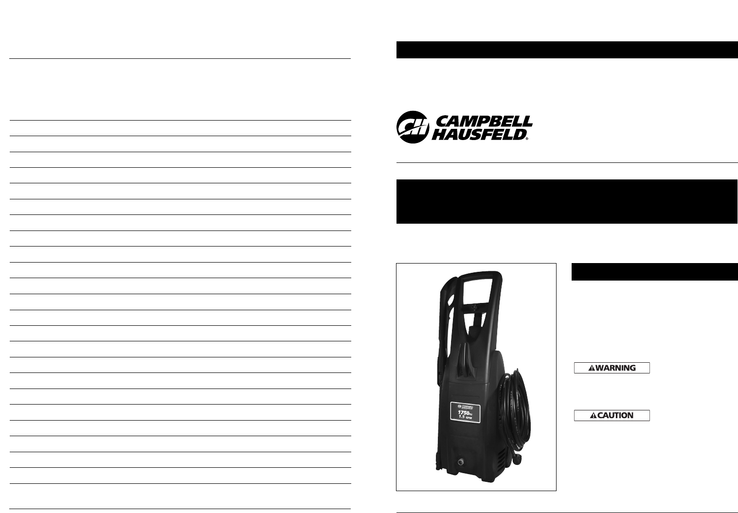 Campbell Hausfeld Pressure Washer Pw1750 User Guide