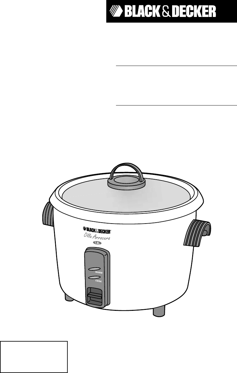 black decker rice cooker rc600 user guide manualsonline com rh kitchen manualsonline com black and decker rice cooker manual rc516 black and decker rice cooker manual rc400