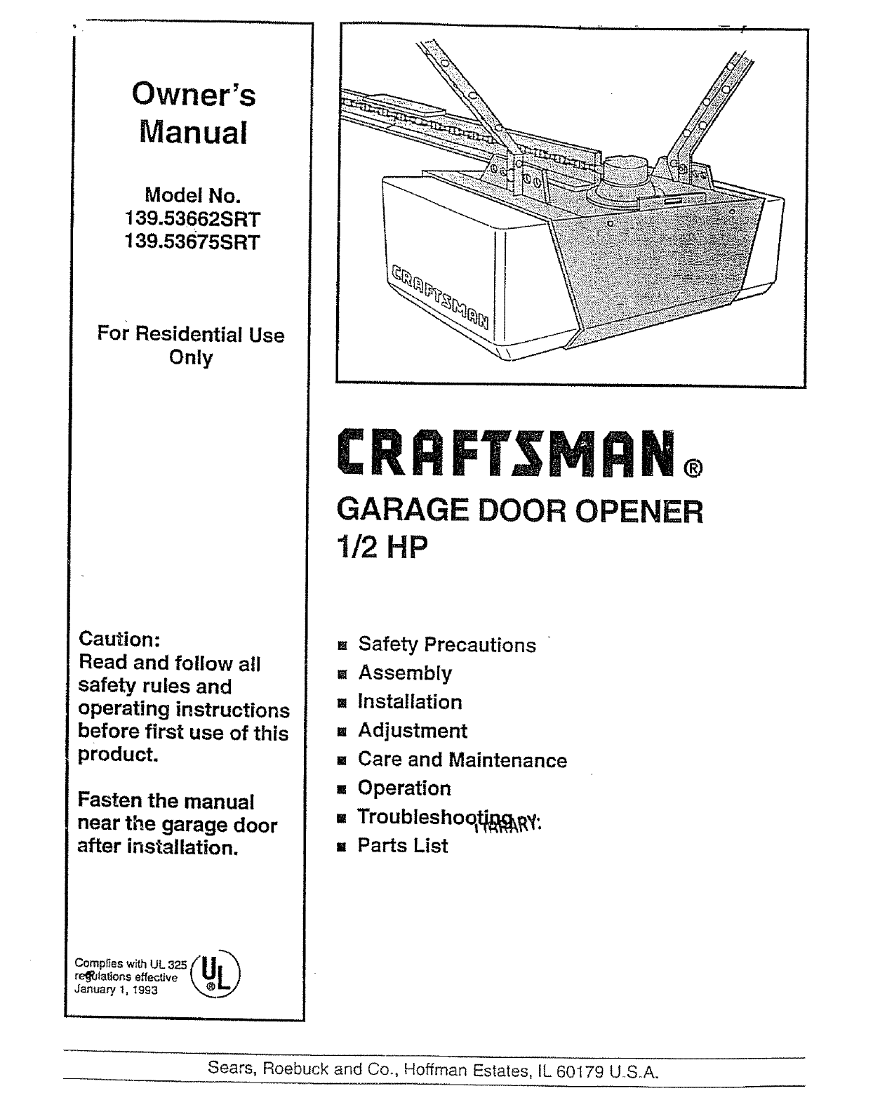 Craftsman Garage Door Opener 139 53675srt User Guide