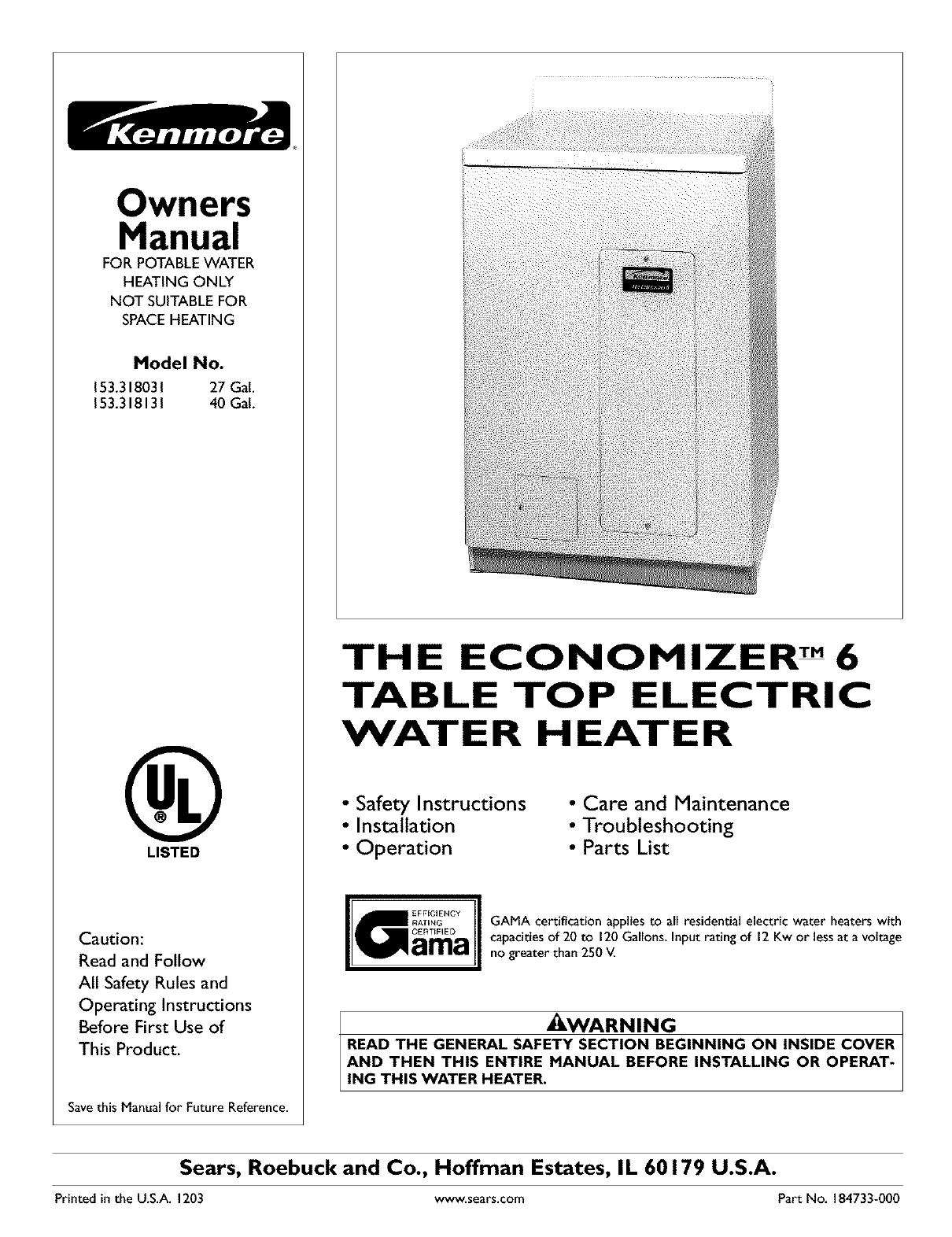 Kenmore water heater 153318131 user guide manualsonline owners manual ccuart Image collections