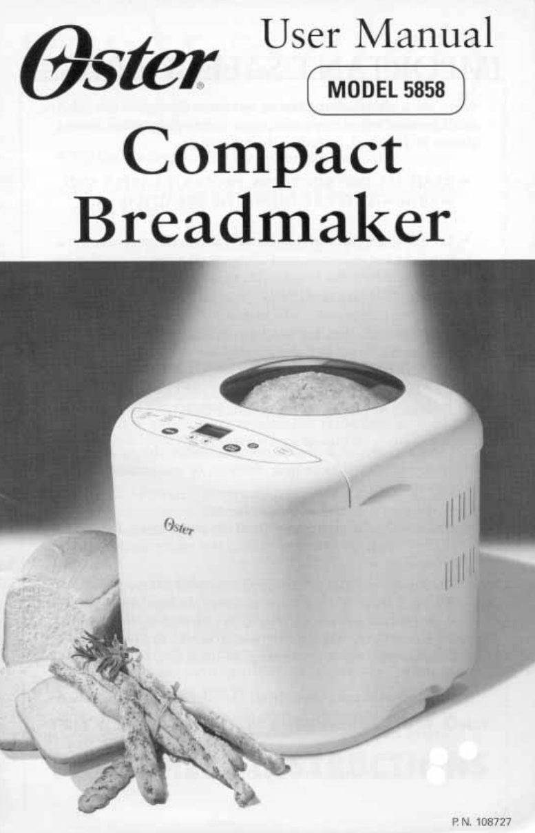 oster bread maker 5858 user guide manualsonline com rh kitchen manualsonline com oster bread machine 5838 instruction manual oster bread machine instruction book