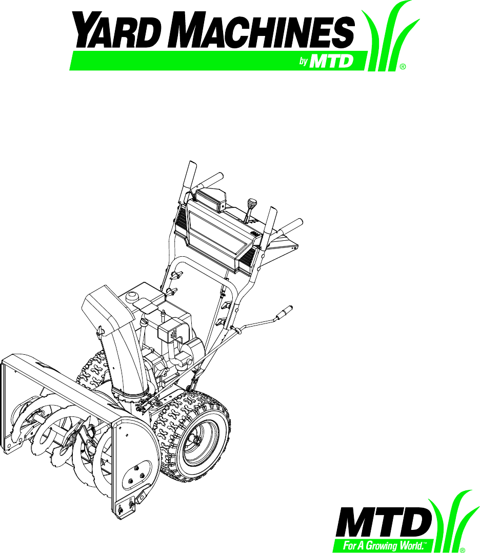 mtd yard machine snowblower parts