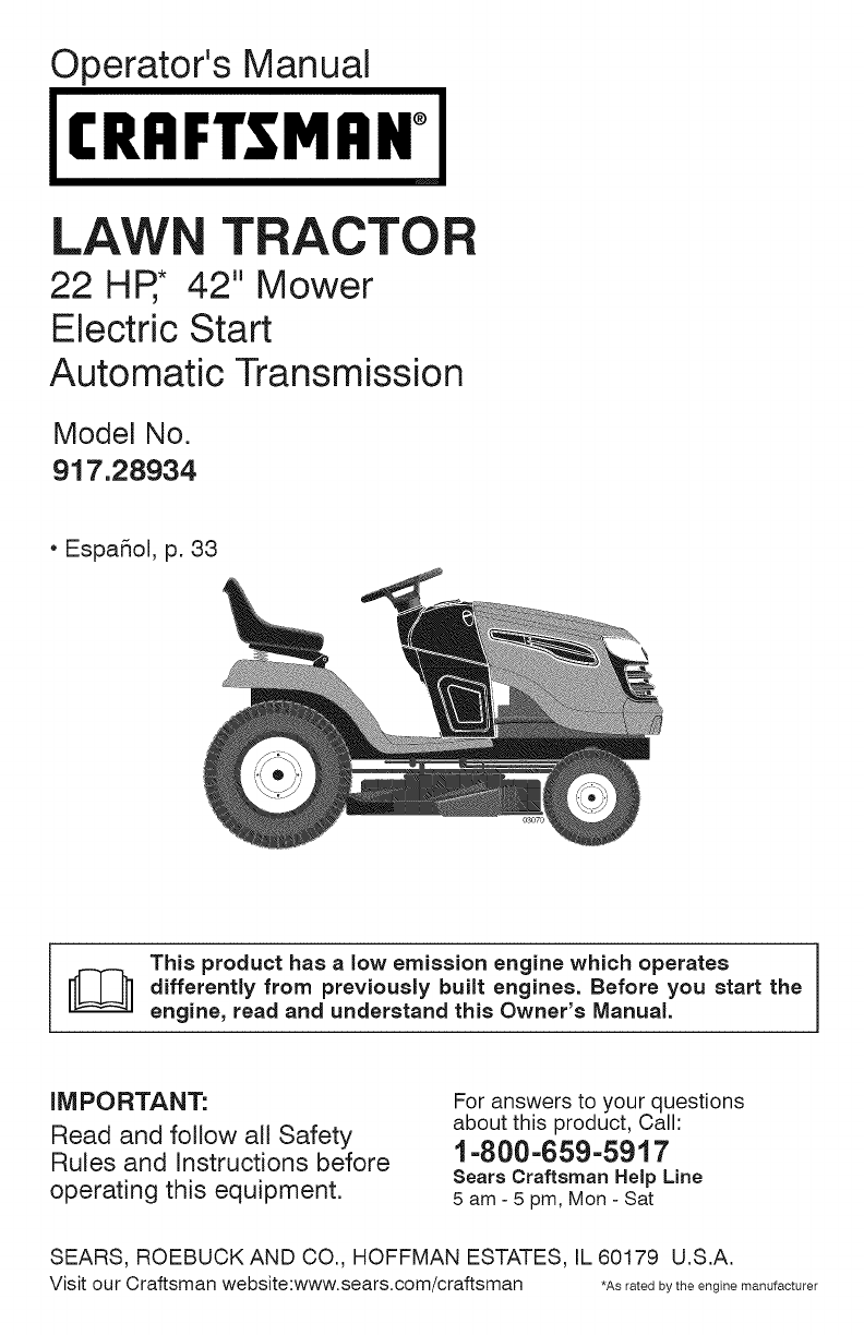 Craftsman 1400 Tractor Parts : Craftsman lawn mower user guide manualsonline