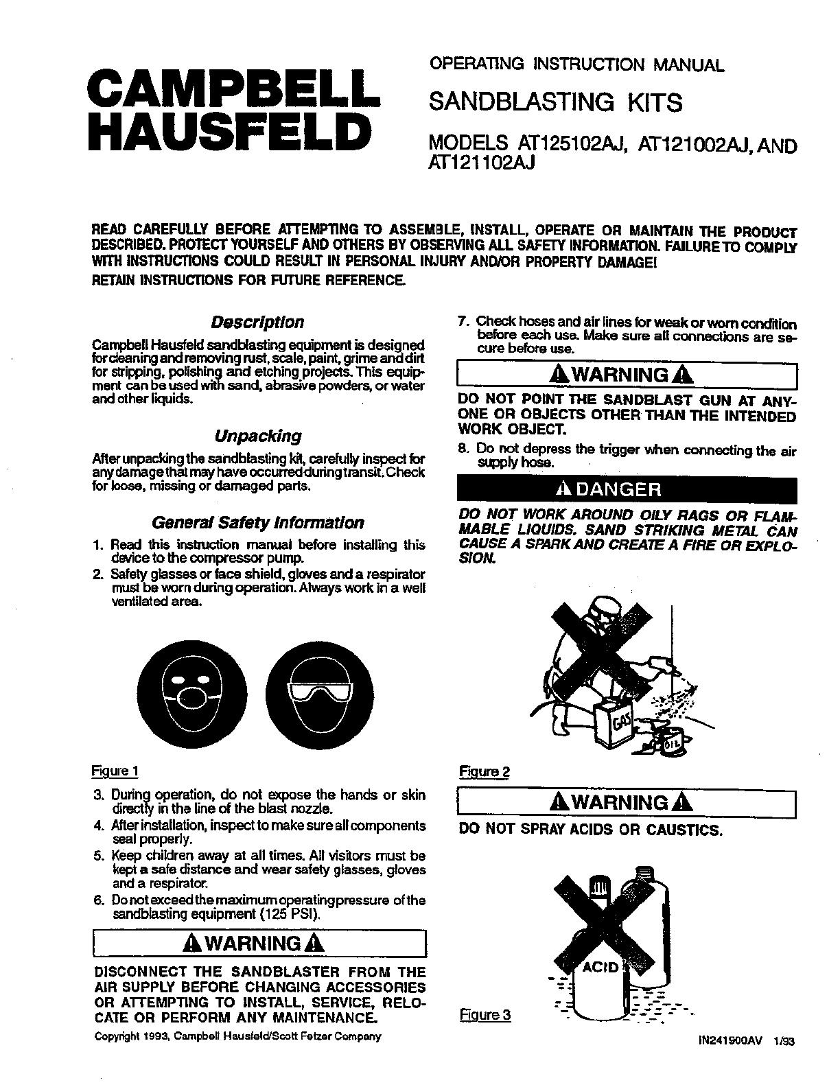 campbell hausfeld sander at122700av user guide manualsonline com rh powertool manualsonline com User Manual PDF Bissell PowerSteamer User Manual