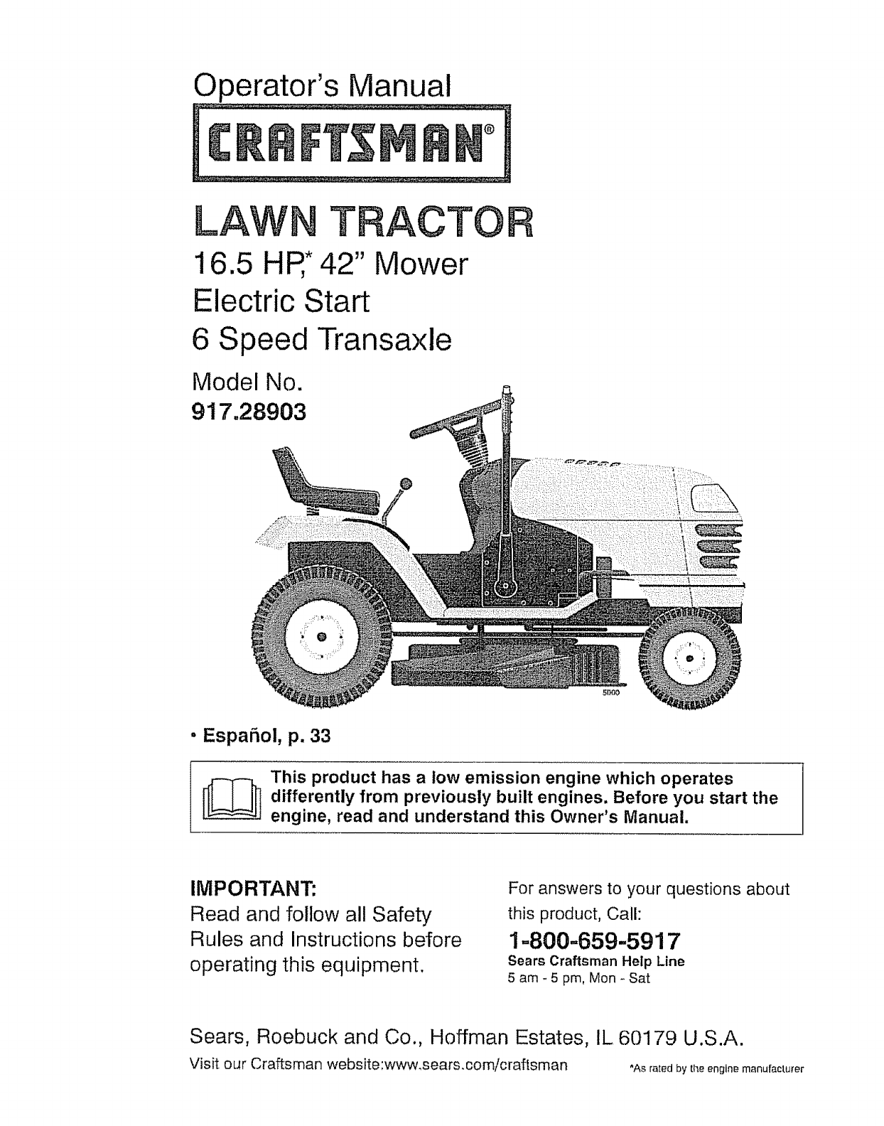 craftsman lawn mower 917 289031 user guide manualsonline com rh kitchen manualsonline com manual for lt1000 craftsman lawn tractor manual for lt1000 craftsman lawn tractor