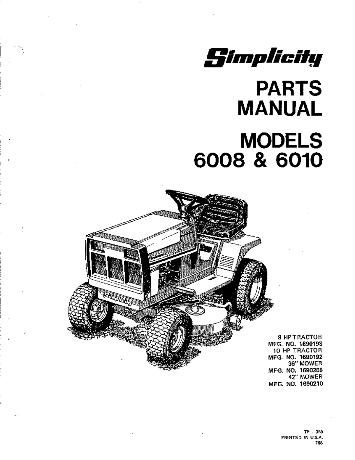 Mower Parts Diagrams Simplicity 6010 Belt Diagram Page 2 List For Model 3394704 Mtdparts Ridingmower Lawn User Guide Manualsonline Com